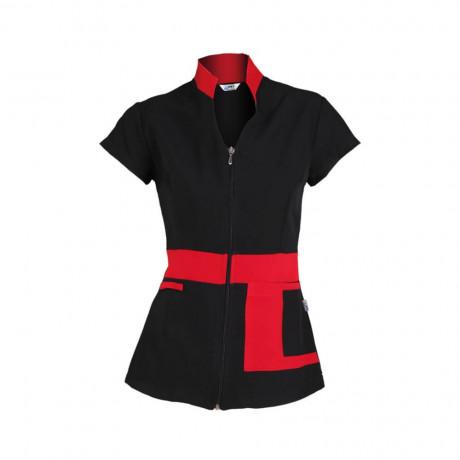 Blusa Cremallera M/C Negra Combi Rojo
